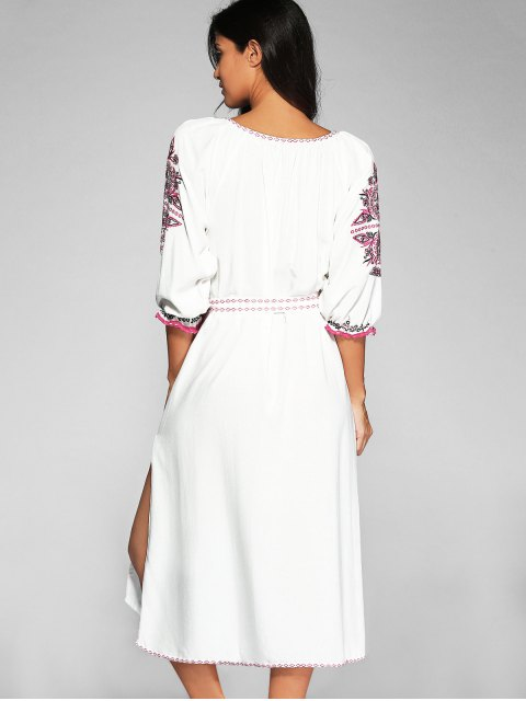 buy Belted Embroidered Midi Dress With Sleeves - OFF-WHITE L Mobile