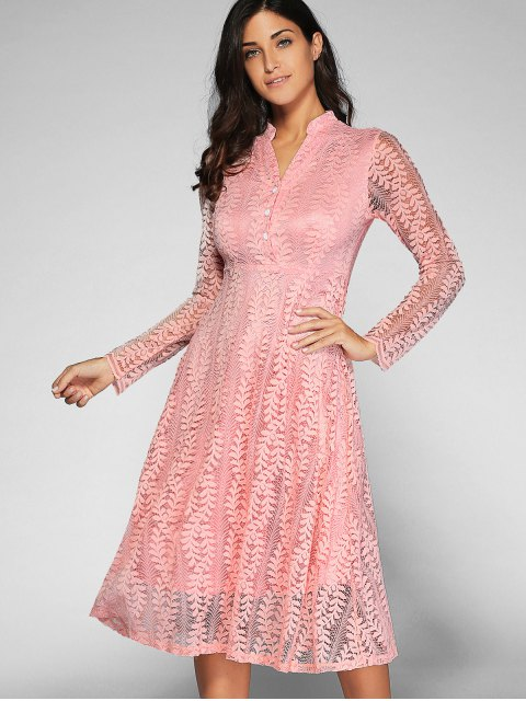 outfits Leaf Pattern Lace Dress - PINK L Mobile