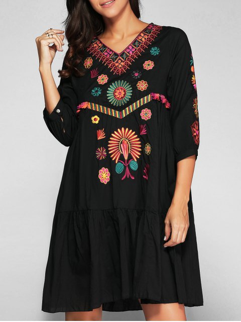 online Embroidered Smock Dress - BLACK M Mobile
