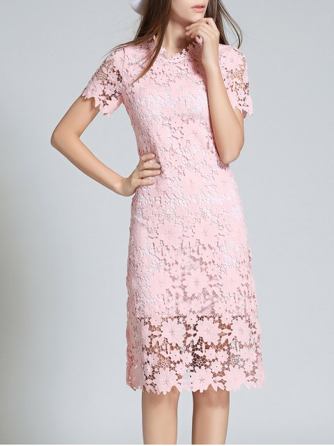 fashion Ruff Neck Sheath Lace Prom Cocktail Dress - PINK L Mobile