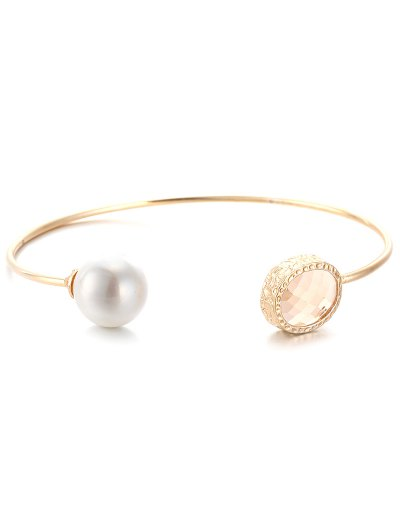 Faux Crystal Pearl Cuff Bracelet - LIGHT APRICOT  Mobile