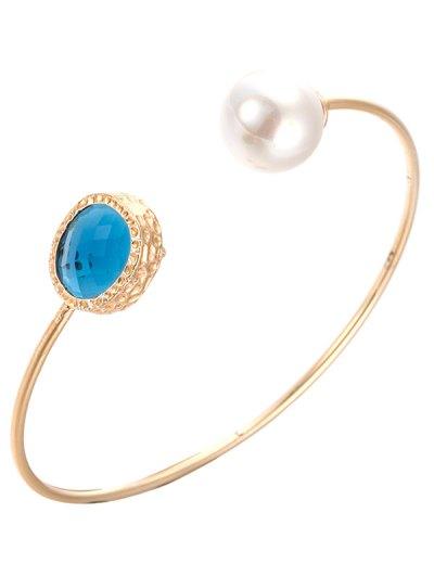 Faux Crystal Pearl Cuff Bracelet - BLUE  Mobile