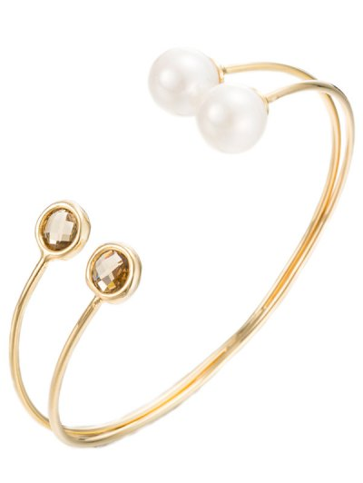 Faux Crystal Pearl Layered Cuff Bracelet - GOLDEN  Mobile