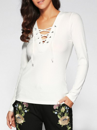 V Neck Long Sleeve Lace Up T-Shirt - White