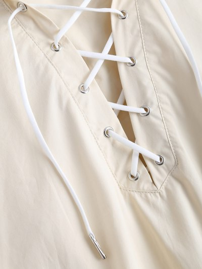 Side Slit Hooded Lace Up Pullover Cape - OFF-WHITE L Mobile