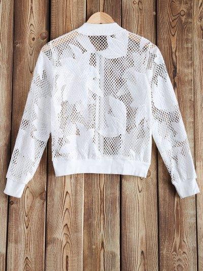 Openwork See-Through Crochet Jacket - WHITE 2XL Mobile
