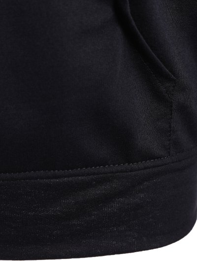 Big Pocket Pullover Printed Hoodie - BLACK M Mobile