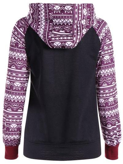 Big Pocket Pullover Printed Hoodie - BLACK S Mobile