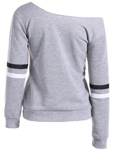 Skew Neck Graphic Sweatshirt - GRAY XL Mobile