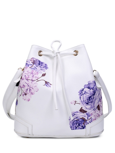 Drawstring Peony Print Backpack - WHITE  Mobile