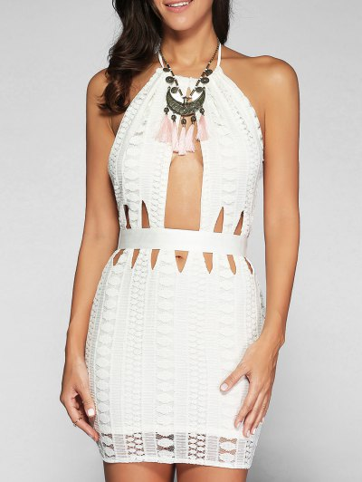 Backless Cutout Bodycon Dress - White