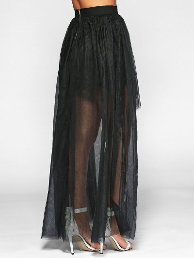 Voile High-Low Ball Gown Maxi Skirt - BLACK XL Mobile