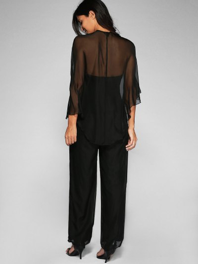 High Slit Bandeau Jumpsuit and Cape - BLACK L Mobile