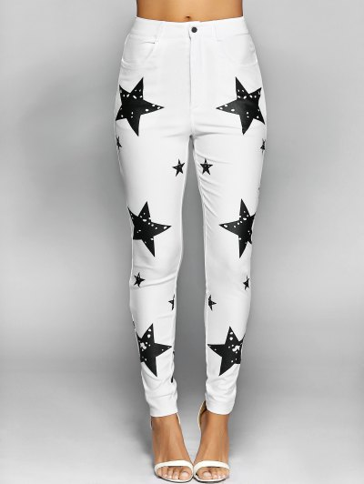 Pentagram Print Slimming Pencil Jeans - WHITE L Mobile