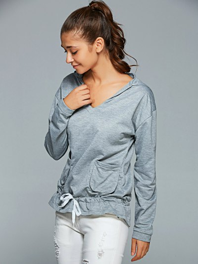 Active Long Sleeve Pockets Hoodie - GRAY XL Mobile