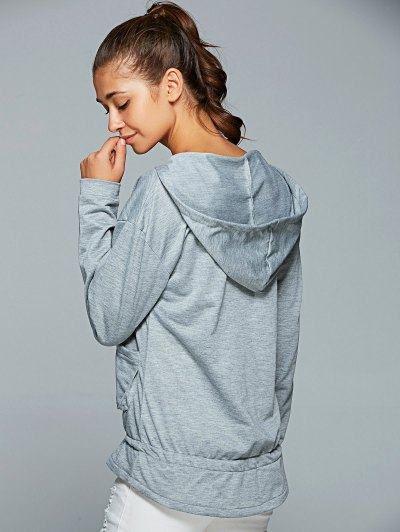 Active Long Sleeve Pockets Hoodie - GRAY L Mobile