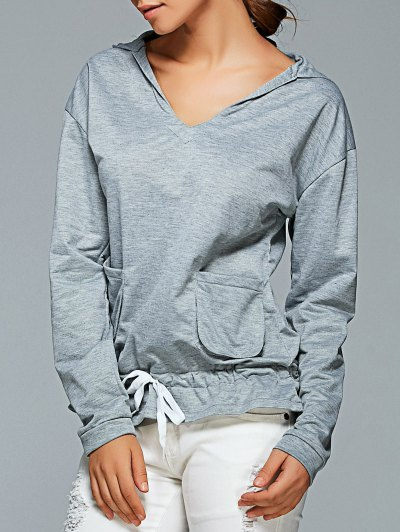 Active Long Sleeve Pockets Hoodie - GRAY S Mobile