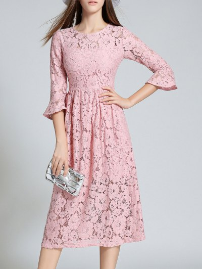 Round Neck Flare Sleeve Lace Dress - PINK 2XL Mobile