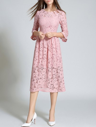 Round Neck Flare Sleeve Lace Dress - PINK L Mobile
