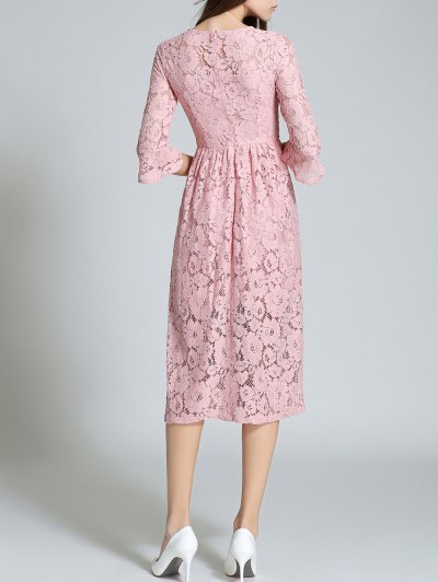 Round Neck Flare Sleeve Lace Dress - PINK M Mobile