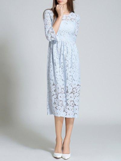 Round Neck Flare Sleeve Lace Dress - LIGHT BLUE M Mobile