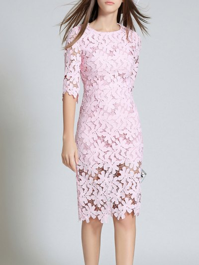 Round Neck 3/4 Sleeve Full Lace Sheath Dress - PINK 2XL Mobile