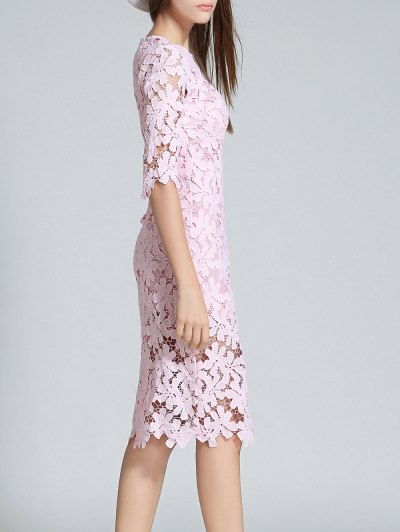 Round Neck 3/4 Sleeve Full Lace Sheath Dress - PINK S Mobile