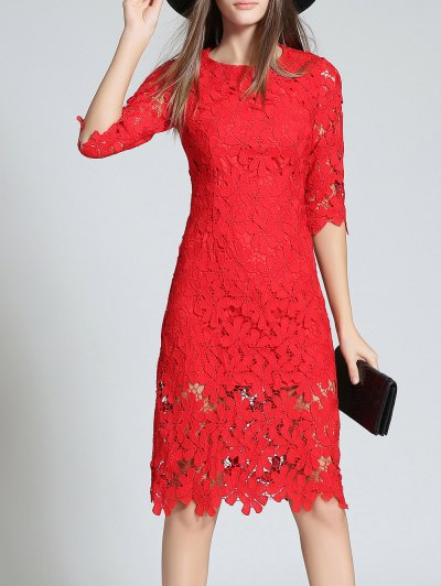 Round Neck 3/4 Sleeve Full Lace Sheath Dress - RED L Mobile