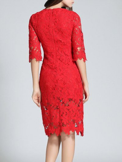 Round Neck 3/4 Sleeve Full Lace Sheath Dress - RED M Mobile