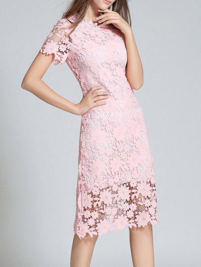Ruff Neck Short Sleeve Sheath Lace Dress - PINK L Mobile
