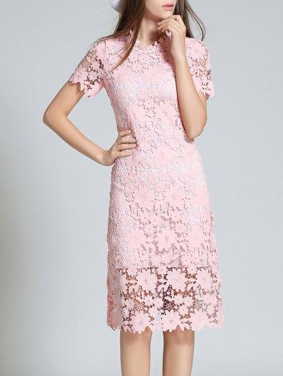 Ruff Neck Short Sleeve Sheath Lace Dress - PINK S Mobile