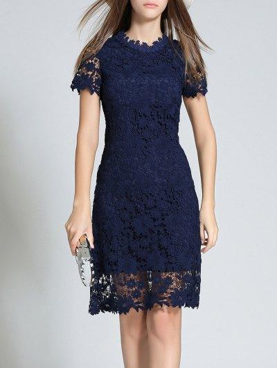 Ruff Neck Short Sleeve Sheath Lace Dress - PURPLISH BLUE 2XL Mobile