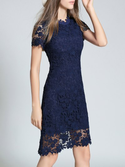 Ruff Neck Short Sleeve Sheath Lace Dress - PURPLISH BLUE L Mobile