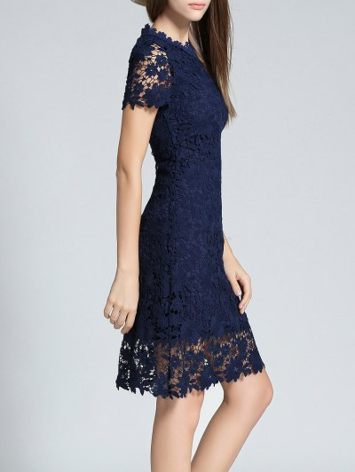 Ruff Neck Short Sleeve Sheath Lace Dress - PURPLISH BLUE S Mobile