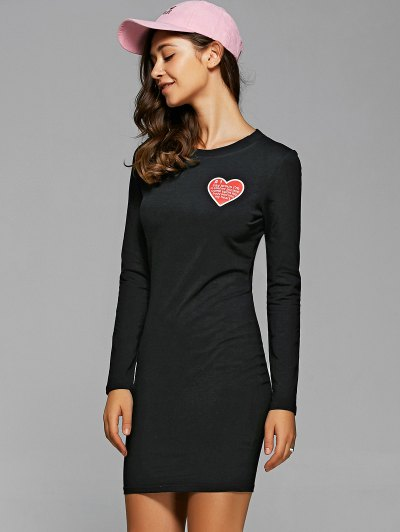 Round Neck Heart Print Bodycon Dress - BLACK L Mobile