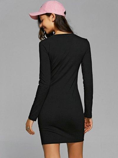 Round Neck Heart Print Bodycon Dress - BLACK S Mobile