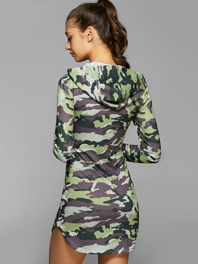 Hooded Long Sleeve Camo Bodycon Dress - CAMOUFLAGE S Mobile
