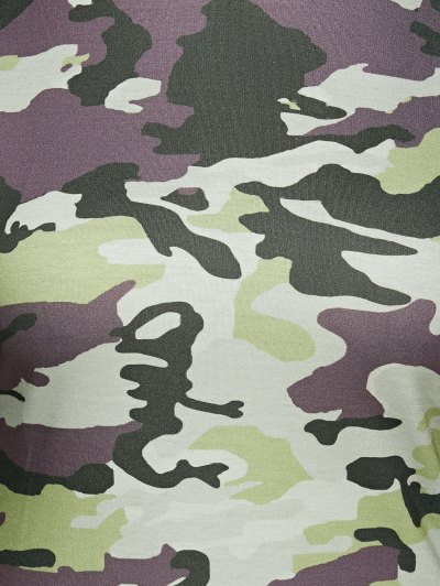 Hooded Long Sleeve Camo Bodycon Dress - CAMOUFLAGE L Mobile