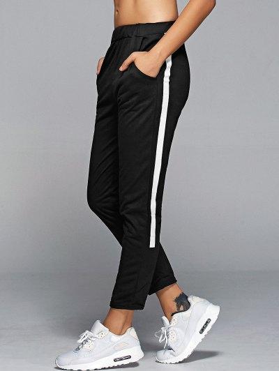 Pantalones De Talle Alto De La Raya Lateral Deportivo - Negro