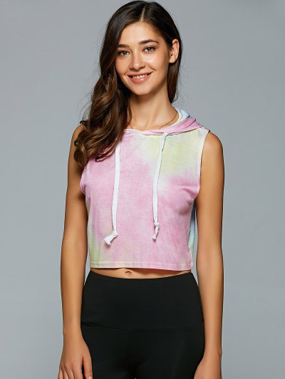 Hooded Tie Dye Crop Top - SHALLOW PINK L Mobile