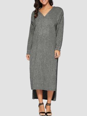 Maxi Slit Sweater Dress - Gray