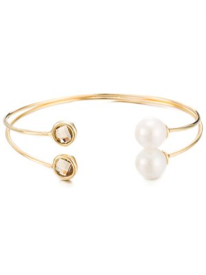 Faux Crystal Pearl Layered Cuff Bracelet - Golden