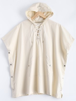 Side Slit Hooded Lace Up Pullover Cape - Off-white