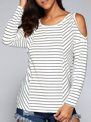 Striped Cold Shoulder Tee - White And Black