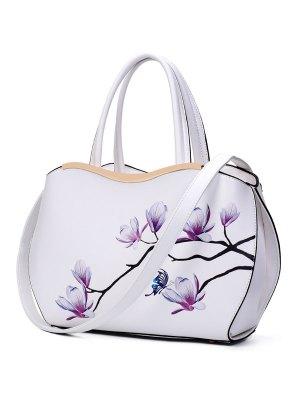 Metal Magnolia Print Tote Bag - White