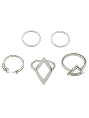 Alloy Rhinestone Triangle Jewelry Set Rings - Silver