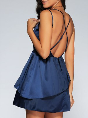 Backless Criss-Cross Semi Formal Cami Dress - Purplish Blue