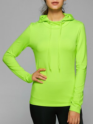 Hooded Drawstring T-Shirt - Neon Green