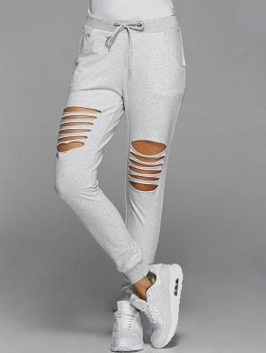 Drawstring Distressed Pants - Light Gray