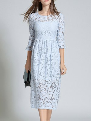 Round Neck Flare Sleeve Lace Dress - Light Blue